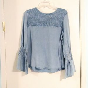 Tramp Chambray Smocked Blouse with Bell Sleeves
